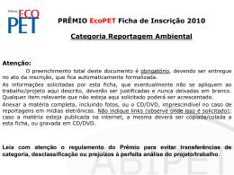 PRÊMIO EcoPET Ficha de Inscrição 2009 Categoria Coleta