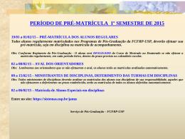 calendário acadêmico de matrícula de pós