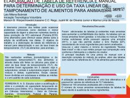 ELABORAÇÃO DE TABELA DE REFERÊNCIA E MANUAL