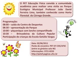 Cartaz divulgação Trilhas - PET – Educação Física – UFSC