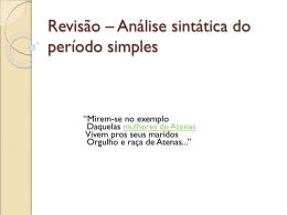 Revisão – Análise sintática do período simples