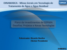 Plano de Investimentos da COPASA. Desafios, Projetos