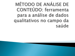 MÉTODO DE ANÁLISE DE CONTEÚDO: ferramenta para a análise