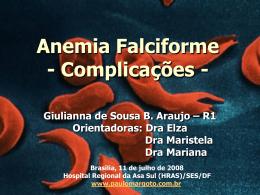 Anemia falciforme:complicações