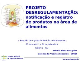 notificação e registro de produtos na área de alimentos