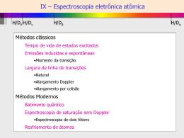 IX – Espectroscopia eletrônica atômica