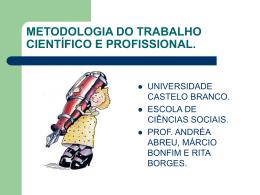 Metodologia do Trabalho Científico e Profissional