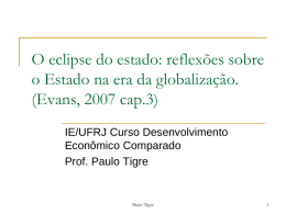 O eclipse do estado - Instituto de Economia da UFRJ