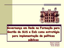 Governança em Rede na Formação para Gestão do SUS e