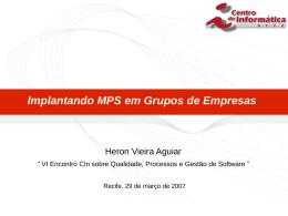Metodologia para Implantar MPS - Centro de Informática da UFPE