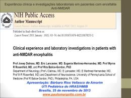 UTI Pediátrica:Experiência clínica e investigações laboratoriais em