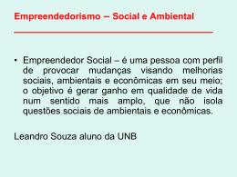 Empreendedorismo – Social e Ambiental