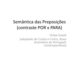 Semântica das Preposições (contraste POR x PARA)