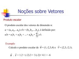 VETORES – Produto escalar e vetorial