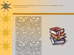 """,Ambientes virtuais de aprendizagem: do `""""ensino na rede"""" à"""