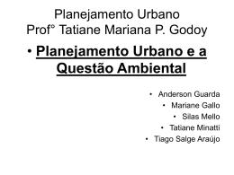 Planejamento Urbano Prof° Tatiane Mariana P. Godoy