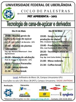 Cartaz Ciclo de Palestras - PET Apresenta