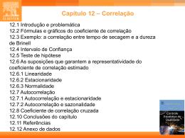 Coeficientes de correlação entre variáveis transformadas
