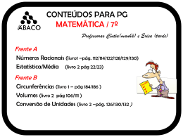 CONTEÚDOS PARA PG MATEMÁTICA/6º
