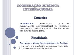 COOPERAÇÃO JURÍDICA INTERNACIONAL