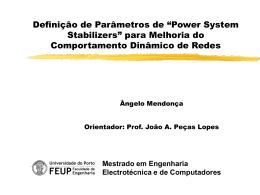 """Definição de Parâmetros de """"Power System Stabilizers"""" para"""