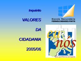 Inquérito VALORES DA CIDADANIA