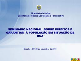 seminário nacional sobre direitos e garantias à população em