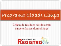 Slide 1 - Prefeitura Municipal de Registro