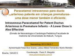 Paracetamol intravenoso para ducto arterioso patente em crianças