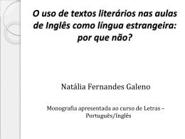 O uso de textos literários nas aulas de Inglês como língua estrangeira