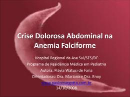 Crise dolorosa abdominal na anemia falciforme