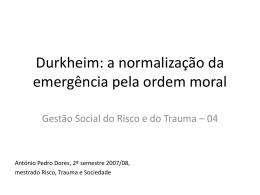 Gestão Social do Risco e do Trauma
