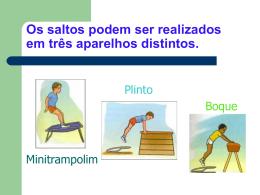 Os saltos podem ser realizados em três aparelhos distintos.
