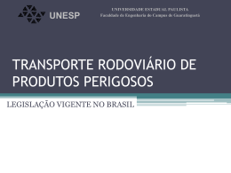 TRANSPORTE RODOVIÁRIO DE PRODUTOS PERIGOSOS