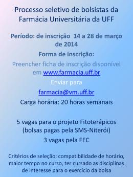 Processo seletivo de bolsistas da Farmácia Universitária da UFF