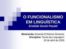 O funcionalismo em Linguística