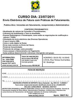 CURSO DIA: 23/07/2011 Envio Eletrônico de Fatura