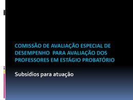 Treinamento Comissões Avaliação Estágio Probatório