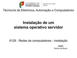 Instalação de um sistema operativo servidor