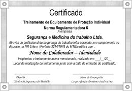 Certificado Treinamento de Prevenção e Combate à Incêndios