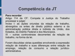Competência da JT