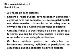 Direito Administrativo II Bens Públicos