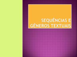 Sequências e gêneros textuais