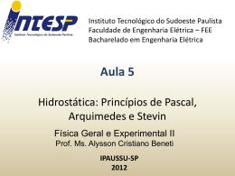 F2 Aula 5 Hidrostática Principios Pascal Arquimedes