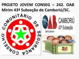 PROJETO JOVEM CONSEG - Governo do Estado de Santa Catarina