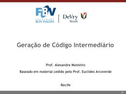 Aula 11 (08/04/2015) - Geração de Código Intermediário