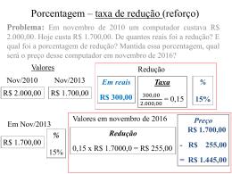 Porcentagem – taxa de redução (reforço)