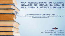 aula multidisciplinar: um caminho inovador na gestão da sala de