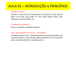 AULA 01 * INTRODUÇÃO e PRINCÍPIOS