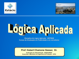 Slides Lógica Aplicada - Professor Hubert Chamone Gesser, Dr.